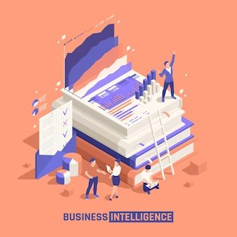 Composição isométrica de business intelligence com equipe de jovens criativos personagens pequenos perto de uma pilha de grandes livros científicos
