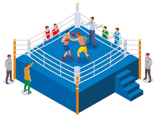 Composição isométrica de caixa com vista do ringue de boxe ao ar livre com personagens de árbitro e fã de dois atletas