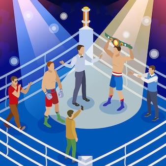 Composição isométrica de caixa com vista do ringue de boxe com caracteres humanos do boxeador árbitro e anfitriões
