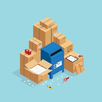 Composição isométrica de caixas de correio