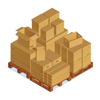 Composição isométrica de caixas de papelão
