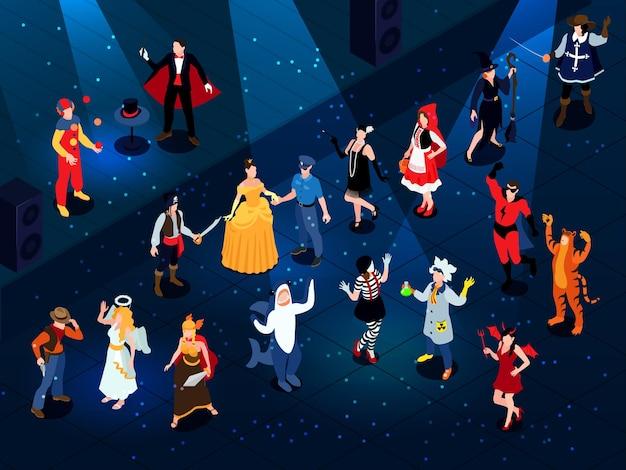 Composição isométrica de carnaval de baile de máscaras festivas com personagens humanos vestindo fantasias descoladas