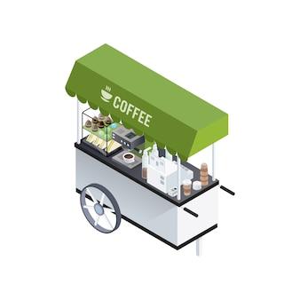 Composição isométrica de carrinho de café