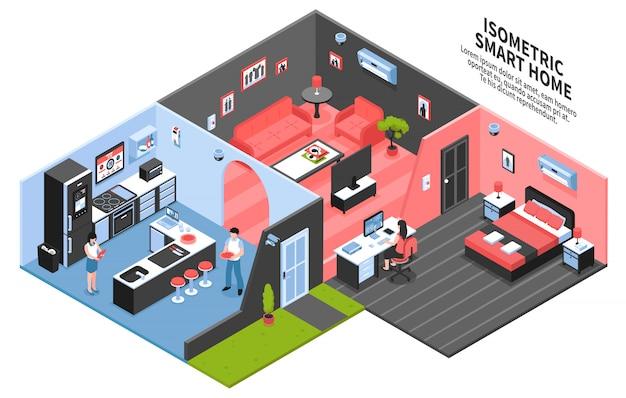 Composição isométrica de casa inteligente