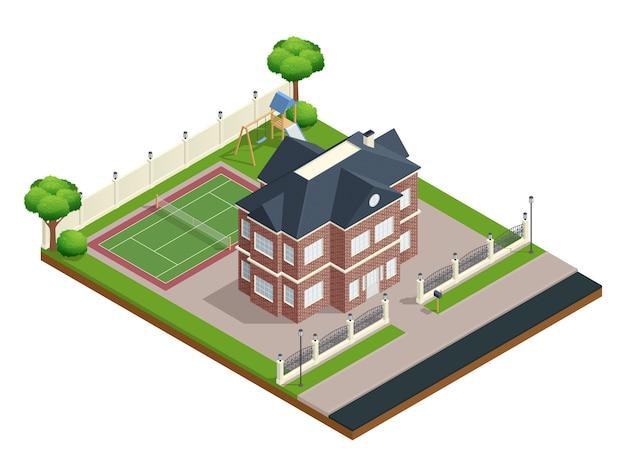 Composição isométrica de casa subúrbio com esportes chão e árvores