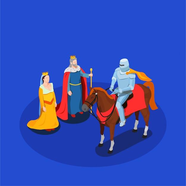 Composição isométrica de cavalaria medieval