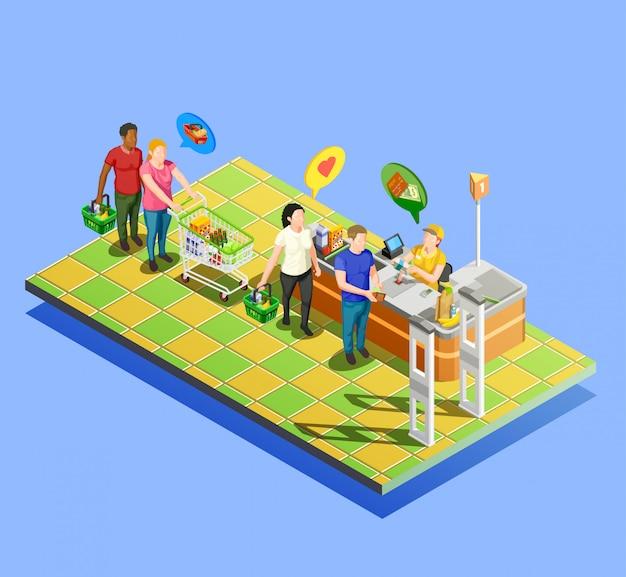 Composição isométrica de check-out de supermercado