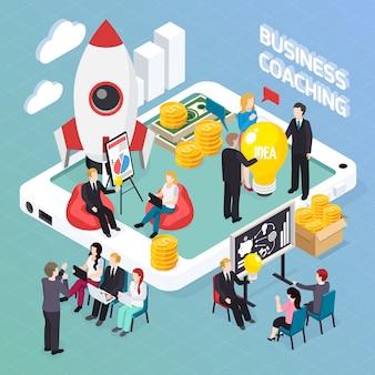 Composição isométrica de coaching de negócios