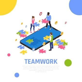Composição isométrica de colaboração de trabalho em equipe com a montagem de peças de quebra-cabeças como exercício de atividade de desenvolvimento de equipes