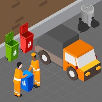 Composição isométrica de coleta de lixo