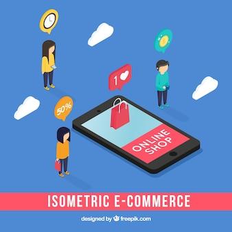 Composição isométrica de comércio eletrônico com telefone
