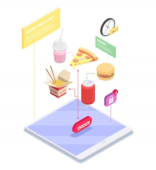 Composição isométrica de comércio eletrônico de compras com vista conceitual do tablet com itens