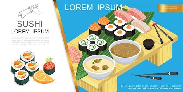 Composição isométrica de comida asiática com sushi e sashimi ingredientes diferentes, algas, molho de soja, sopa de wasabi, pauzinhos na ilustração de mesa