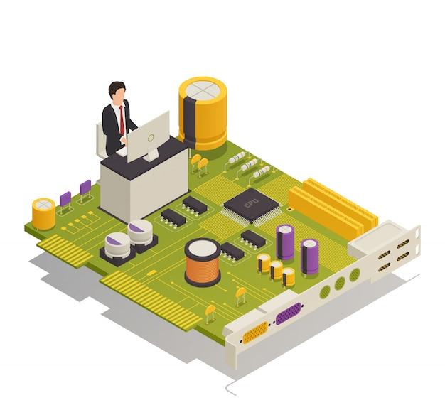Composição isométrica de componentes eletrônicos de semicondutores
