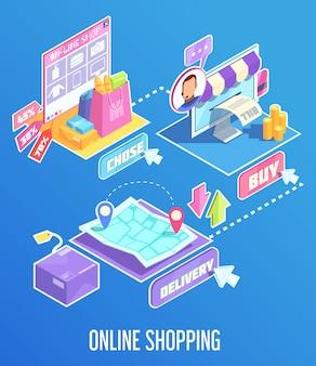 Composição isométrica de compras na internet
