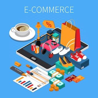 Composição isométrica de compras on-line de comércio eletrônico com dinheiro do cartão de crédito comprado sapatos na tela do tablet