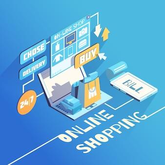 Composição isométrica de compras on-line