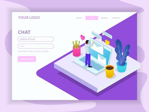 Composição isométrica de comunicação virtual com a página inicial do site com ilustração de menu e formulário de inscrição
