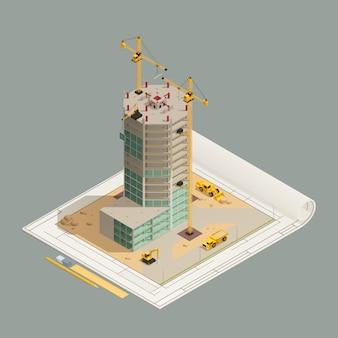 Composição isométrica de construção de arranha-céu