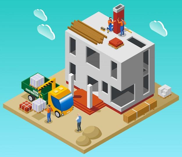 Composição isométrica de construção de casa com equipe de construtores, descarregando materiais de construção com guindaste perto de ilustração vetorial de edifício inacabado