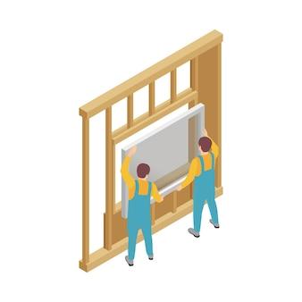 Composição isométrica de construção de estrutura modular com caracteres humanos de trabalhadores instalando janela