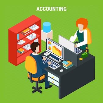 Composição isométrica de contabilidade bancária