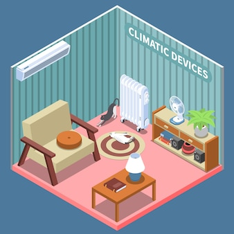 Composição isométrica de controle climático residencial ilustrada sala de estar com móveis e dispositivos climáticos
