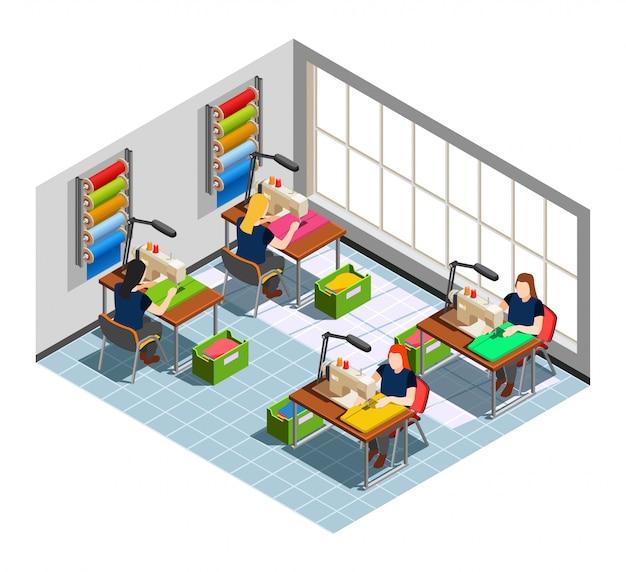 Composição isométrica de costureira de fábrica de roupas