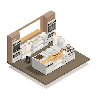 Composição isométrica de cozinha