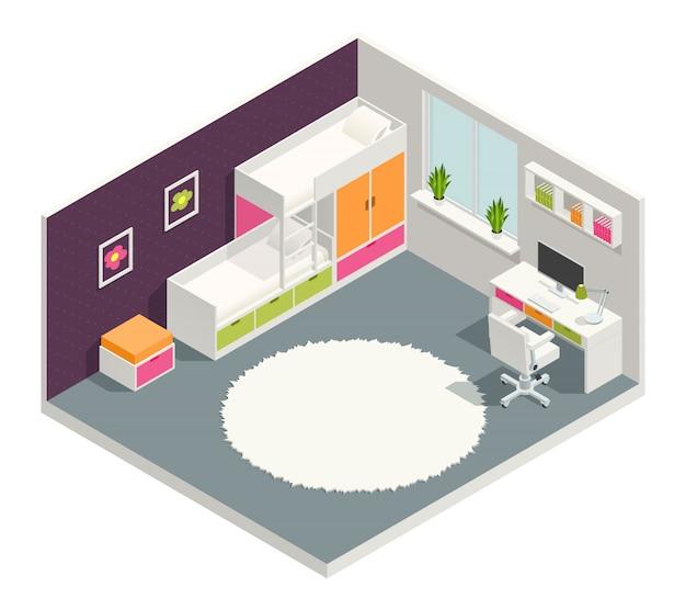 Composição isométrica de crianças quarto com mesa de cama e tapete