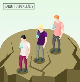 Composição isométrica de dependência de gadget com pessoas indo para a beira do abismo olhando para seus smartphones