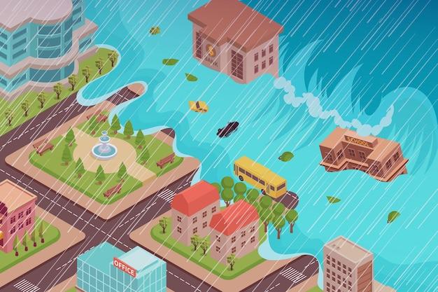 Composição isométrica de desastre de inundação com vista da cidade sendo engolfada pelo maremoto com chuva