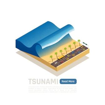 Composição isométrica de desastre natural com tsunami na praia