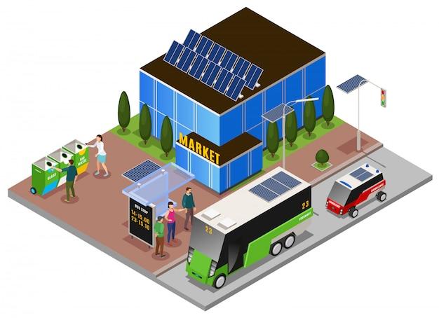 Composição isométrica de ecologia urbana inteligente com a construção de baterias solares e lixeiras com parada de ônibus elétrico