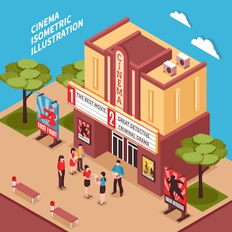 Composição isométrica de edifício de cinema