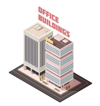 Composição isométrica de edifícios de escritórios de vários andares