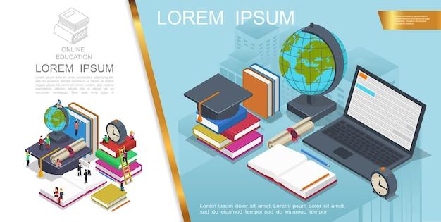 Composição isométrica de educação online com pessoas no processo de aprendizagem. livros, laptop, formatura, tampa, globo