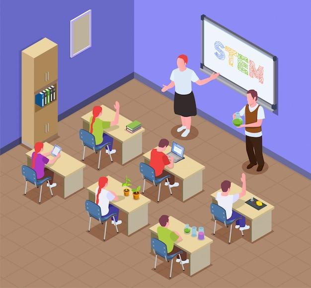 Composição isométrica de educação stem com cenário interno de sala de aula e crianças sentadas em mesas com personagens do professor