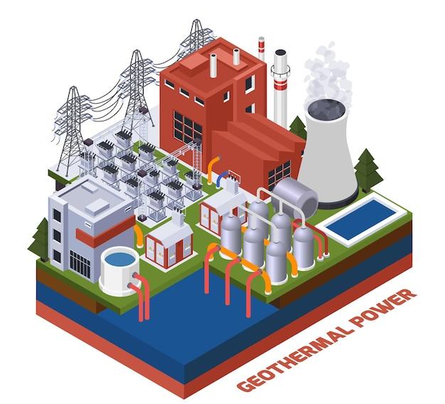 Composição isométrica de eletricidade com estação de energia geotérmica 3d