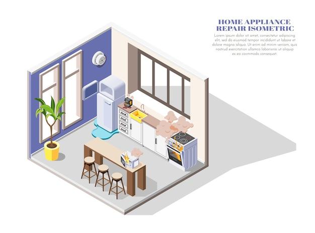 Composição isométrica de eletrodomésticos quebrados com vazamento de geladeira, forno a lenha e micro-ondas na cozinha 3d