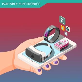Composição isométrica de eletrônicos portáteis