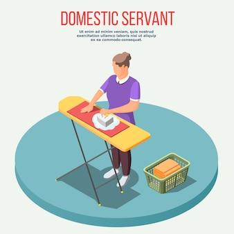 Composição isométrica de empregada doméstica
