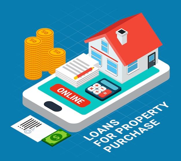 Composição isométrica de empréstimos com elementos de casa particular em cima da tela do smartphone com texto
