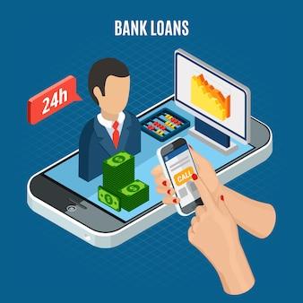 Composição isométrica de empréstimos com elementos de dinheiro e agente de suporte ao cliente em cima do smartphone