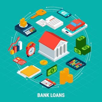 Composição isométrica de empréstimos com elementos de eletrônica de dinheiro de equipamentos de contabilidade e pictogramas de infográfico com texto