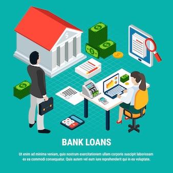 Composição isométrica de empréstimos com elementos de texto editável de documentos de dinheiro e documentos com caracteres humanos