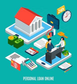 Composição isométrica de empréstimos de elementos de serviço on-line de empréstimo pessoal com gadgets de tela de toque