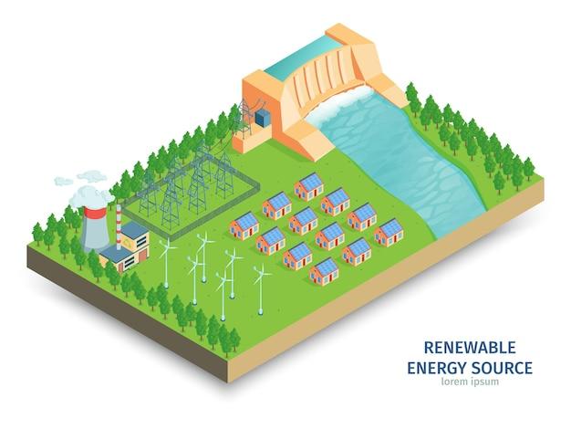 Composição isométrica de energia verde com vista da infraestrutura de energia com estação de geração hidrelétrica e turbinas eólicas