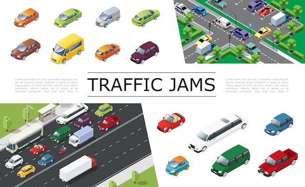 Composição isométrica de engarrafamento com transporte urbano movendo-se em automóveis de diferentes tipos e modelos