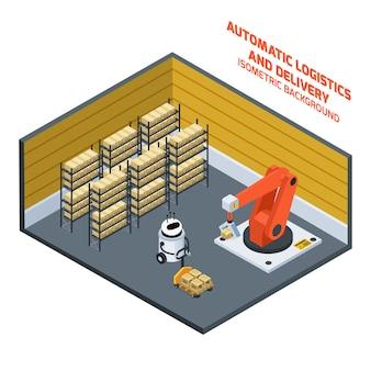 Composição isométrica de entrega automática de logística